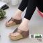รองเท้าเตารีด เสริมส้นหูคีบ พื้นลายตาราง โลโก้ลาคอส 1108-น้ำตาล [สีน้ำตาล ] thumbnail 2