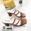 รองเท้าส้นสูงวัสดุหนังนิ่ม ดีไซน์งานเส้น ส้นเหลี่ยม 998-02-ตาล [สีตาล] thumbnail 1