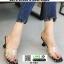 รองเท้าส้นสูงเปิดส้น หน้าใสลายจุด Q-483-BLK [สีดำ] thumbnail 4