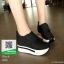 รองเท้าผ้าใบเสริมส้น หนัง pu ญี่ปุ่นกันฝุ่น A06-ดำ [สีดำ] thumbnail 2