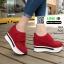 รองเท้าผ้าใบเสริมส้น หนัง pu ญี่ปุ่นกันฝุ่น A06-แดง [สีแดง] thumbnail 1