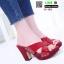 รองเท้าลำลองเปิดส้น หนังแก้วนิ่ม ส้นไม้ 12-103-RED [สีแดง] thumbnail 1