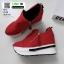 รองเท้าผ้าใบสไตล์เกาหลี ซิปข้าง เสริมส้นด้านในให้ รวม 4นิ้ว A-08-แดง [สีแดง] thumbnail 4