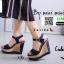 รองเท้าส้นเตารีดรัดส้น 17-5154-NVB [สีกรม]
