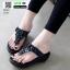 รองเท้าลำลอง แบบหูคีบหนังนิ่ม 6131-ดำ [สีดำ] thumbnail 2