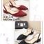 รองเท้าส้นเตี้ยรัดส้น ส้นตอก ยางยืดหลัง 1218-BLK [สีดำ] thumbnail 2