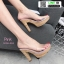 รองเท้าส้นสูงเปิดส้น ส้นไม้ หน้าใส 3006-92A-PNK [สีชมพู] thumbnail 2