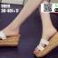 รองเท้าแตะสวมส้นเตารีด วัสดุหนังนิ่ม 9999-WHI [สีขาว] thumbnail 2