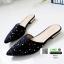 รองเท้าหัวแหลม ส้นทอง สไตล์ซาร่าห์ 10210-ดำ [สีดำ] thumbnail 3