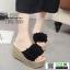 รองเท้าส้นสูง แบบสวม ส้นโฟม PU6008-BLK [สีดำ]