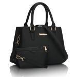 ขายส่งกระเป๋าผู้หญิงถือและสะพายข้าง เซ็ต 2 ใบ ทำงานผู้หญิง เรียบหรู แฟชั่นเกาหลี Sunny-724 สีดำ