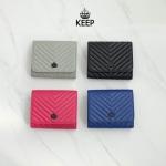 กระเป๋าสตางค์หนังแท้แบรนด์ KEEP รุ่น Chevron wallet bag มี 4 สี ชมพูเข้ม / น้ำเงิน / ดำ / เทา
