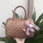กระเป๋าแบรนด์ Keep รุ่น quited leather Pillow bag สี Metallic Rose พร้อมพวงกุญแจรุ่นพิเศษ