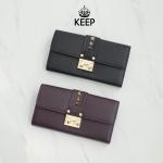 กระเป๋าสตางค์หนังแท้แบรนด์ Keep รุ่น wallet parise leather bag มี 2 สี ดำ, ม่วงมังคุด