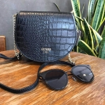 กระเป๋าแบรนด์ Guess รุ่น CROC MINI SHOULDER BAG สีดำ