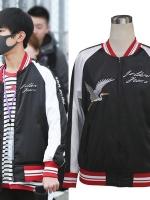 เสื้อแจ็คเก็ตแฟชั่นสีดำ TFBOYS แต่งขอบ แนวเบสบอล