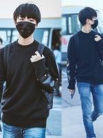 เสื้อแขนยาวแฟชั่นสีดำ TFBOYS แต่งแขนเสื้อหนัง