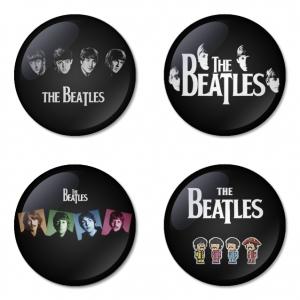 ของที่ระลึกวง The Beatles เลือกด้านหลังได้ 4 แบบ เข็มกลัด, แม่เหล็ก, กระจกพกพา หรือ พวงกุญแจที่เปิดขวด 1 แพ็ค 4 ชิ้น [10]
