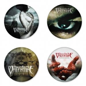 ของที่ระลึกวง Bullet for my Valentine เลือกด้านหลังได้ 4 แบบ เข็มกลัด, แม่เหล็ก, กระจกพกพา หรือ พวงกุญแจที่เปิดขวด 1 แพ็ค 4 ชิ้น [1]