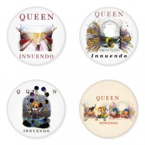 ของที่ระลึกวง Queen เลือกด้านหลังได้ 4 แบบ เข็มกลัด, แม่เหล็ก, กระจกพกพา หรือ พวงกุญแจที่เปิดขวด 1 แพ็ค 4 ชิ้น [4]