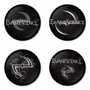 ของที่ระลึกวง Evanescence เลือกด้านหลังได้ 4 แบบ เข็มกลัด, แม่เหล็ก, กระจกพกพา หรือ พวงกุญแจที่เปิดขวด 1 แพ็ค 4 ชิ้น [12]