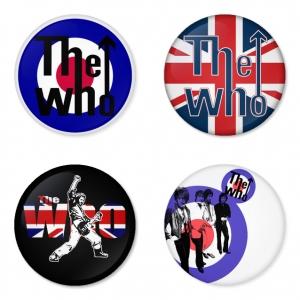 ของที่ระลึกวง The Who เลือกด้านหลังได้ 4 แบบ เข็มกลัด, แม่เหล็ก, กระจกพกพา หรือ พวงกุญแจที่เปิดขวด 1 แพ็ค 4 ชิ้น [1]