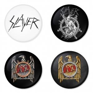 ของที่ระลึกวง Slayer เลือกด้านหลังได้ 4 แบบ เข็มกลัด, แม่เหล็ก, กระจกพกพา หรือ พวงกุญแจที่เปิดขวด 1 แพ็ค 4 ชิ้น [1]