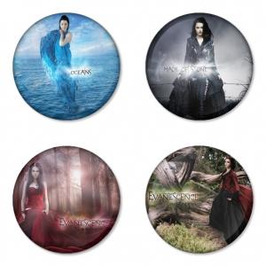 ของที่ระลึกวง Evanescence เลือกด้านหลังได้ 4 แบบ เข็มกลัด, แม่เหล็ก, กระจกพกพา หรือ พวงกุญแจที่เปิดขวด 1 แพ็ค 4 ชิ้น [3]
