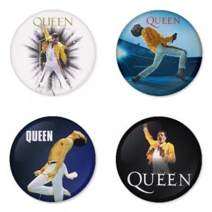 ของที่ระลึกวง Queen เลือกด้านหลังได้ 4 แบบ เข็มกลัด, แม่เหล็ก, กระจกพกพา หรือ พวงกุญแจที่เปิดขวด 1 แพ็ค 4 ชิ้น [3]