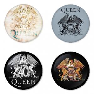 ของที่ระลึกวง Queen เลือกด้านหลังได้ 4 แบบ เข็มกลัด, แม่เหล็ก, กระจกพกพา หรือ พวงกุญแจที่เปิดขวด 1 แพ็ค 4 ชิ้น [8]