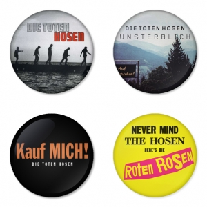 ของที่ระลึกวง Die Toten Hosen เลือกด้านหลังได้ 4 แบบ เข็มกลัด, แม่เหล็ก, กระจกพกพา หรือ พวงกุญแจที่เปิดขวด 1 แพ็ค 4 ชิ้น [2]