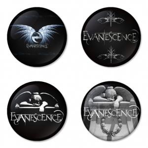 ของที่ระลึกวง Evanescence เลือกด้านหลังได้ 4 แบบ เข็มกลัด, แม่เหล็ก, กระจกพกพา หรือ พวงกุญแจที่เปิดขวด 1 แพ็ค 4 ชิ้น [9]