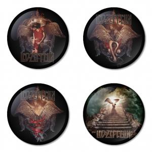 ของที่ระลึกวง Led Zeppelin เลือกด้านหลังได้ 4 แบบ เข็มกลัด, แม่เหล็ก, กระจกพกพา หรือ พวงกุญแจที่เปิดขวด 1 แพ็ค 4 ชิ้น [1]