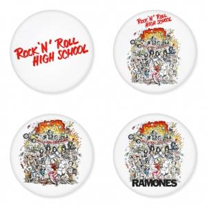 ของที่ระลึกวง Ramones เลือกด้านหลังได้ 4 แบบ เข็มกลัด, แม่เหล็ก, กระจกพกพา หรือ พวงกุญแจที่เปิดขวด 1 แพ็ค 4 ชิ้น [3]