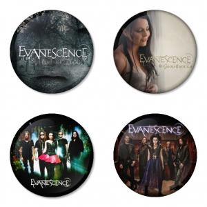 ของที่ระลึกวง Evanescence เลือกด้านหลังได้ 4 แบบ เข็มกลัด, แม่เหล็ก, กระจกพกพา หรือ พวงกุญแจที่เปิดขวด 1 แพ็ค 4 ชิ้น [13]