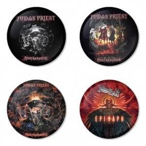 ของที่ระลึกวง Judas Priest เลือกด้านหลังได้ 4 แบบ เข็มกลัด, แม่เหล็ก, กระจกพกพา หรือ พวงกุญแจที่เปิดขวด 1 แพ็ค 4 ชิ้น [12]