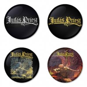 ของที่ระลึกวง Judas Priest เลือกด้านหลังได้ 4 แบบ เข็มกลัด, แม่เหล็ก, กระจกพกพา หรือ พวงกุญแจที่เปิดขวด 1 แพ็ค 4 ชิ้น [1]