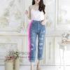 กางเกงยีนฟอกขายาวแต่งขาดสไตเกาหลี