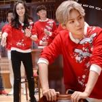 เสื้อแขนยาวแฟชั่นสีแดง EXO แต่งลายนก เก๋มาก