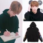เสื้อฮู้ดแจ็คเก็ตสีดำเกาหลี BTS แต่งพิมพ์ลายแขนเสื้อ