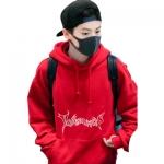 เสื้อฮู้ดแจ็คเก็ตแขนยาวสีแดง EXO พิมพ์ลายด้านหน้า
