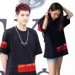 เสื้อยืดแขนสั้นสีดำเกาหลี EXO แต่งลายด้านหน้า
