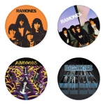 ของที่ระลึกวง Ramones เลือกด้านหลังได้ 4 แบบ เข็มกลัด, แม่เหล็ก, กระจกพกพา หรือ พวงกุญแจที่เปิดขวด 1 แพ็ค 4 ชิ้น [7]