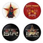 ของที่ระลึกวง Guns N Roses เลือกด้านหลังได้ 4 แบบ เข็มกลัด, แม่เหล็ก, กระจกพกพา หรือ พวงกุญแจที่เปิดขวด 1 แพ็ค 4 ชิ้น [7]