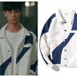 เสื้อแจ็คเก็ตแขนยาวสีขาว เจียงเฉิน แต่งแถบเส้นคาด