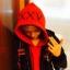 เสื้อฮู้ดแจ็คเก็ตสีแดงเกาหลี EXO แต่งฮู้ด XXV