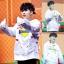 เสื้อฮู้ดแขนยาวสีขาว EXO พิมพ์ลายด้านหน้า แต่งรอยขาด