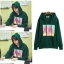 เสื้อฮู้ดแจ็คเก็ตสีเขียว Lee Jong Suk พิมพ์ลายด้านหน้า