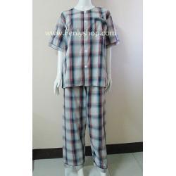 ชุดนอน(ช)กก.ขายาวแขนสั้น ผ้า Cotton เกรด เอ แบบลายสก็อตโทนสีแดง+ดำ คอกลม ขนาดไซส์ XL