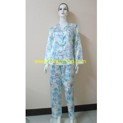 ชุดนอน(ญ)ไซส์ใหญ่ผ้าซาตินกางเกงขายาวแขนยาว สีฟ้าแบบลาย น่ารัก เสื้อรอบอก 46 นิ้ว